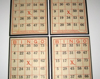 4 Sturdy Vintage  Bingo Cards for Altered Art, Collage, etc.