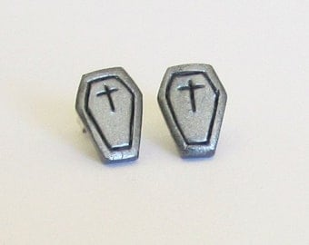 Polymer Clay Halloween Coffin Studs