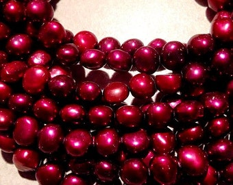 "Corn Pearl Baroque Pearl Freshwater Pearl deep red claret color- 8-9mm AA----15"" full strand 50 pc #CB6034 NEW Arrival"