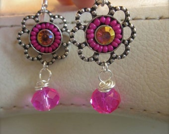 Hot pink super sparkley earrings with tiny seed bead accents and orange crystals - summer - elegant - shiney - sparkle - funky - gypsy - fun