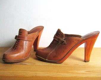 RESERVED 1970s QUALICRAFT LEATHER clogs, 8 - 8.5