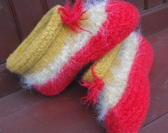 Hand Knit Wool Felted Slippers for Women