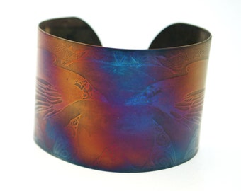 Coloured steel raven cuff, Multi coloured stainless steel bangle, large rainbow surgical steel cuff