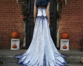 Corpse Bride Wedding Gown Hand Painted Gothic