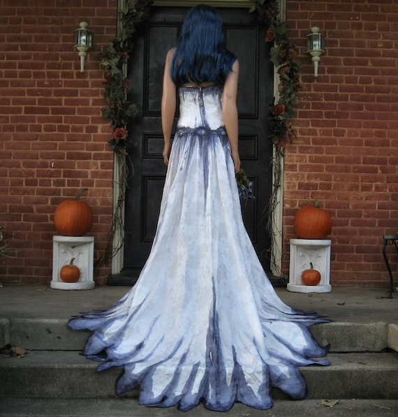 Items similar to corpse bride wedding gown hand painted for Painted on wedding dress