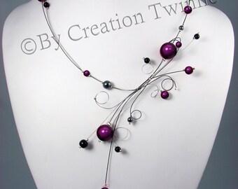 purple black necklace, swirls jewelry, wedding jewelry,  mother gift, bridesmaids jewelry,funky jewelry, evening necklace, bridal jewelry