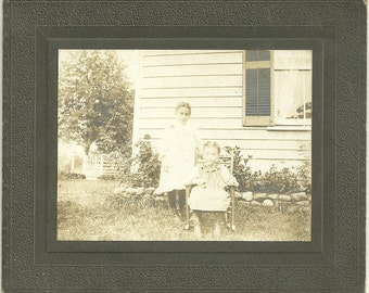 Vintage Cabinet Card Photo Little Girl Stands Beside Little Sister In Rocking Chair Photograph