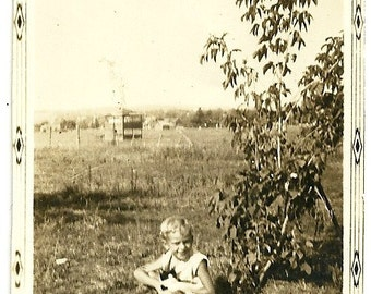 Vintage Snapshot Photo Little Boy Plays With Black And White Kitten In Grass Child And Cat Photograph