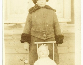 Vintage Photo Little Girl In Winter Coat And Hat With Doll In Stroller Friend Snapshot Photograph