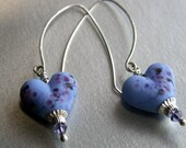 Sterling Silver and Handmade Lampwork Glass Lavender Heart  Drop Earrings SRA FHF