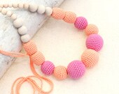 Crochet Nursing necklace Tangerine Pink necklace Teething necklace Made to Order