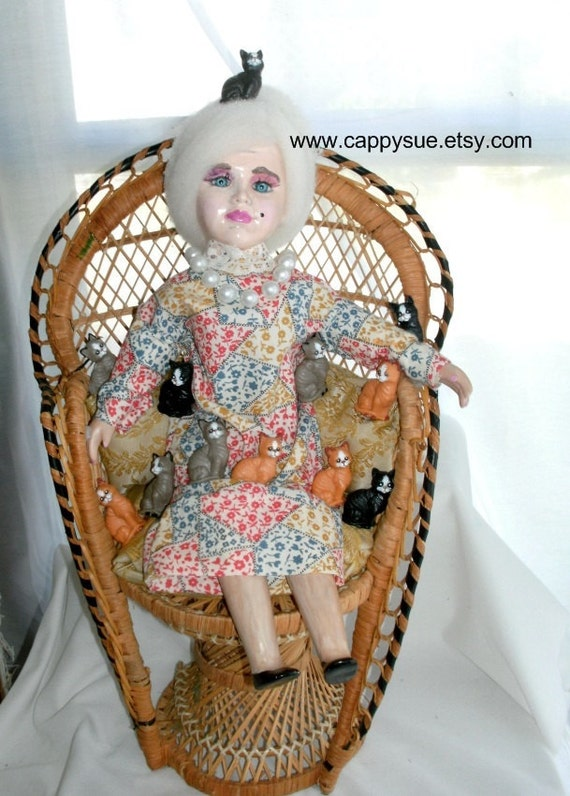 Crazy Old Cat Lady Assemblage Doll