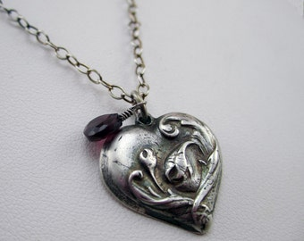 Silver Metal Clay Charm Necklace with Garnet Drop