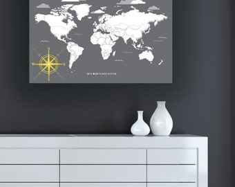 Travel Map, Personalized Interactive World Map, Mark your travels, World Traveler Map, Family Map, Canvas or Art Print // 50 H-I05-1PS AA4
