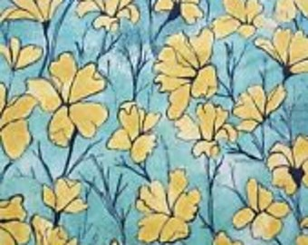 Laura Gunn Fabric Daylilies in Yellow 1/2 Yard
