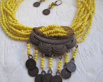 Authentic yellow seed bead   necklace, necklace- earring set, brown metal accessories.