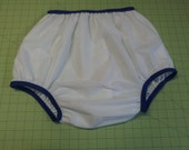 Adult Diaper Cover - White with Purple Elastic - Size 30 to 40 inches