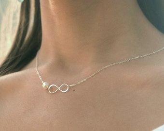 Sterling silver infinity necklace, figure eight necklace with pearl, sideways infinity, bridesmaid gifts, infinite love necklace