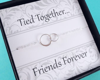 Graduation gift idea, Friendship necklace, Eternity necklace, interlocked circles, two ring necklace, bridesmaid gifts,