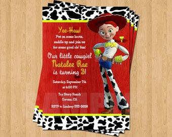 Jessie TOY STORY Cowgirl Birthday Party Personalized Invitation .JPEG File Cowgirl
