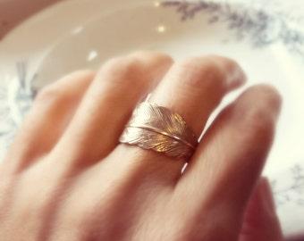 Feather Ring, Brass Ring, Brass Feather Ring, Gold Feather Ring, Antique Brass Ring, silver feather, silver ring