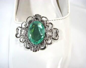 Brilliant Green Shoe Clips Silver Filigree 1 Pair Accessories Shoe Jewelry