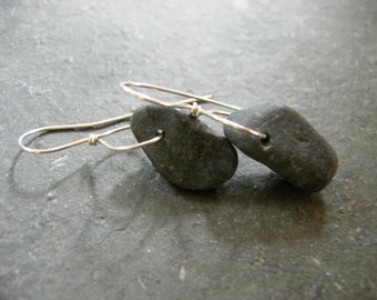 basalt beach stone lasso earrings
