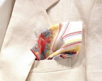 Groomsmen Handkerchiefs, Groom Handkerchief Set, Orange Pocket Square Set, Vintage Pocket Square Set, Wedding Handkerchiefs, Set of 5
