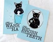 Black Cat Bathroom Prints - 5x7 Eco-friendly Pair