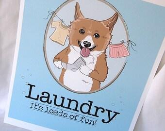 Corgi Laundry Print - 8x10 Eco-friendly Size