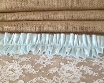 SALE****SALE****SALE Burlap Table Runner - Ivory Lace - Aqua Ruffle - Rustic - Weddings - Cottage Decor