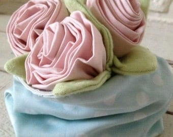 Handmade Cluster of Three Pink Roses with Sage Green Leaves -  Shabby Chic - Paris Apt