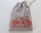 Drawstring Bag, Produce Bag, All Purpose Bag with Tandem Bicycle - Choose your fabric and ink color