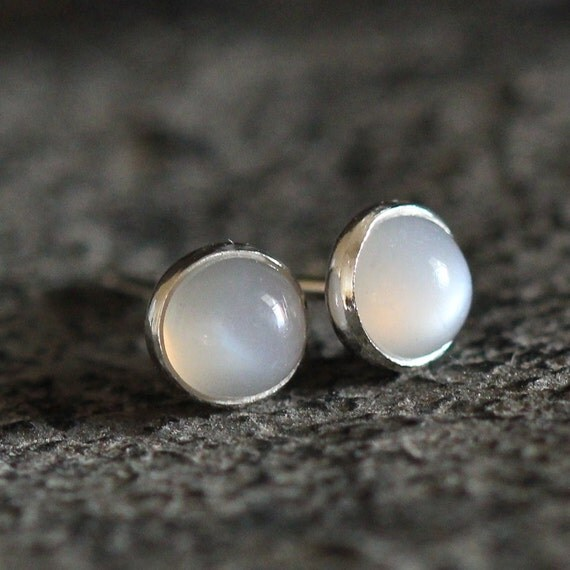 Grey Colour Earrings: Gray Moonstone Stud Earrings 4mm Tiny Drop Of Color Earrings