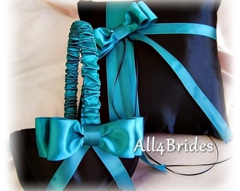 Teal and black weddings ring pillow and flower girl basket, wedding ring cushion and basket set.