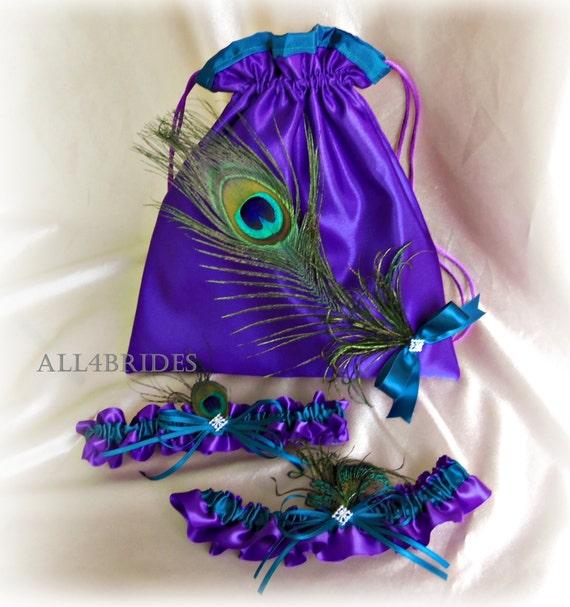 Peacock Weddings Bridal Garters and Drawstring - Purple Teal Peacock Feathers Wedding Dance Bag