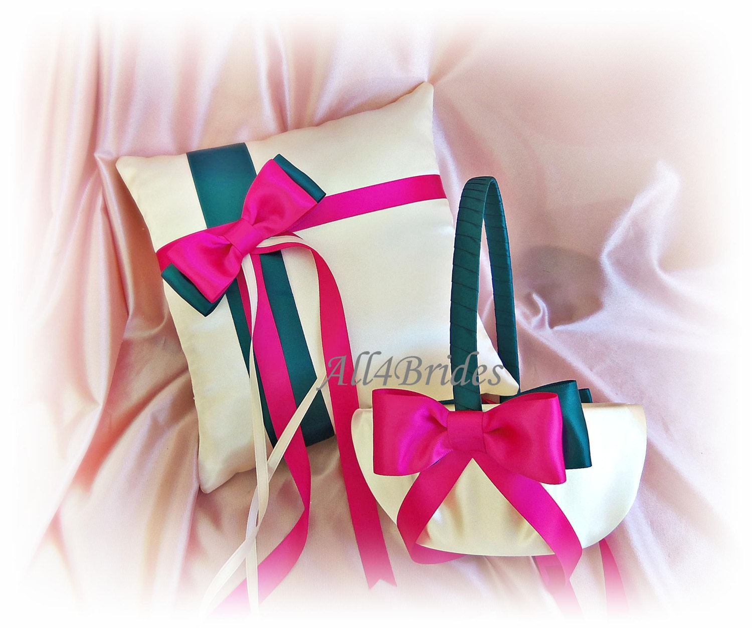 Snap teal and hot pink wedding colors flower girl basket and ring teal and fuchsia pink weddings basket and pillow ring bearer mightylinksfo