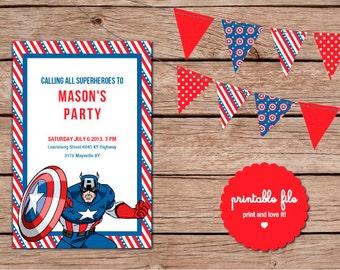 Captain America Custom Birthday Invitation. Printable