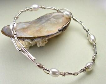 Pearl Sterling Bangle Bracelet, Silver Stacking Bangle, White Freshwater Ovals, Unique Modern Original Design, Opens, June Birthstone, Sizes