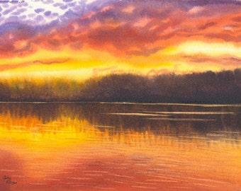Sunset on Lake Original Watercolor Painting by Cathy Hillegas, class demo, sunset 10, red, orange, yellow, purple, brown