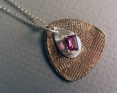 Faceted Garnet and Sterling Pendant Necklace OOAK