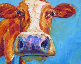 Cow - Cow Art - Cow Print - Paper - Canvas - Wood Block - Giclee Print