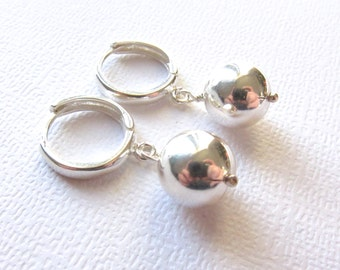 Sterling Silver Earrings with Shiny Ball Drop on Unique European Secure Leverback earwires