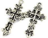 12 Milagro Vine Cross Charms Pendants, Classic Silver, 4831cs