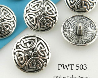Celtic Cross Pewter Button 17mm  Antiqued Silver (PWT 503) 6 pcs BlueEchoBeads