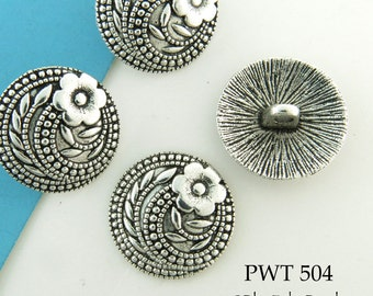 17mm Flower Pewter Button, Antiqued Silver (PWT 504) 6 pcs BlueEchoBeads