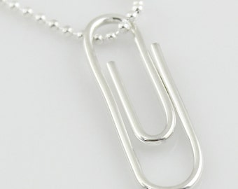 Sterling Silver Paper Clip Necklace - Geek, Geekery, Nerdy, Office Supply Lover