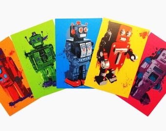 Splattery Colorful Robots Print Set