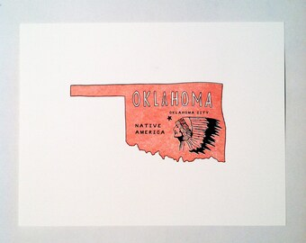 OKLAHOMA letterpress print