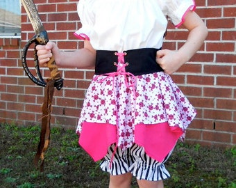Girls Pirate Costume / Made to order / Sizes 2 thru 8 / Dress Up / Pageant / Birthdays / Halloween / Trunk
